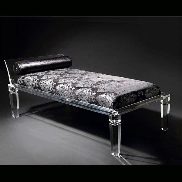 【NYデザイナーズ家具】 アクリル家具 ベッド・ダマスク柄 (W122×H43cm)