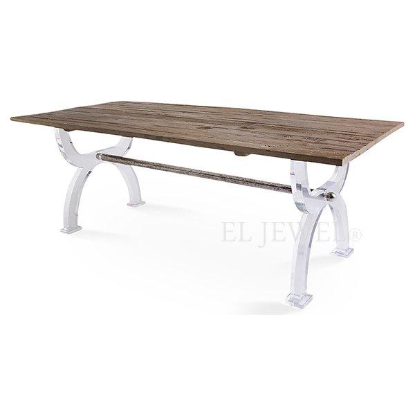 【NYデザイナーズ家具】アクリル家具 ダイニングテーブル(W210×D100×H77cm)