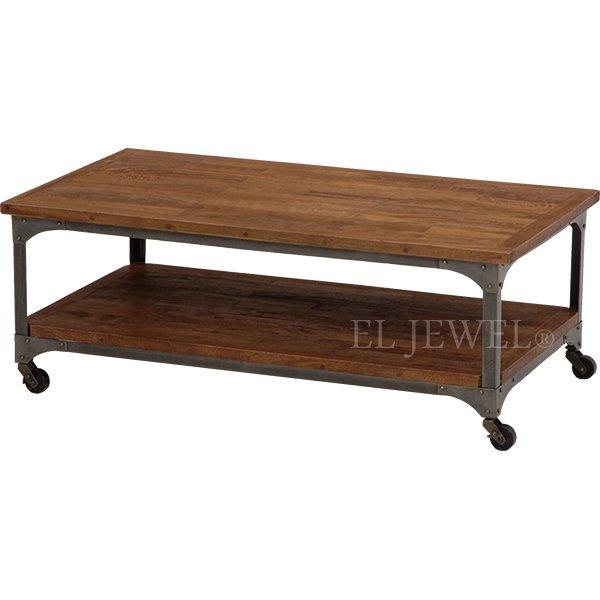 【完売】【LIBERTA】インダストリアルスタイル家具 キャスター付テーブル(W110×D60×H40cm)