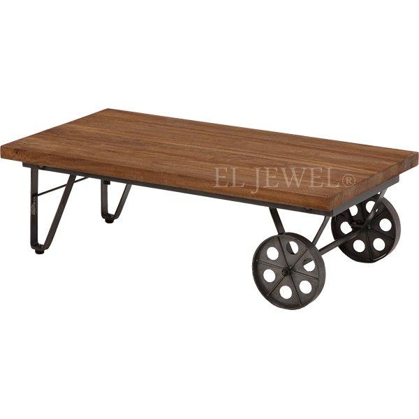 【完売】【LIBERTA】インダストリアルスタイル家具 キャスター付テーブル(W110×D60×H35cm)