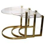 <b>【NYデザイナーズ家具】</b>アクリル家具 ブロンズネストテーブル3set(W53×D46×H53cm)
