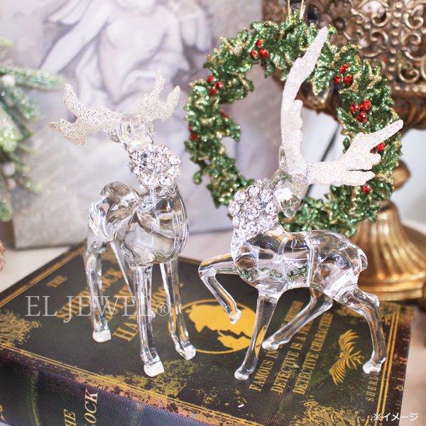 【即納可!】 クリスマスアイテム♪アクリルミニトナカイオブジェA・クリア(W7×D3.5×H13cm)