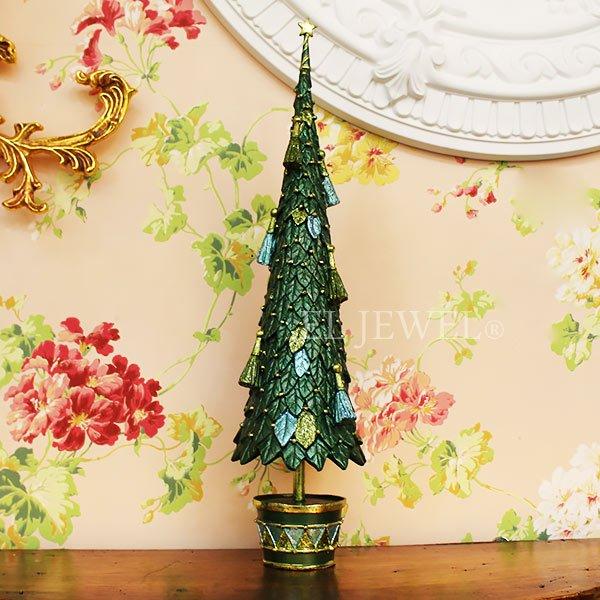 【10月下旬入荷予定】クリスマスアイテム♪ リーフ&タッセルツリー Lサイズ・グリーン(φ11×H43cm)