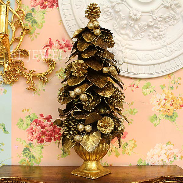 【10月下旬入荷予定】クリスマスアイテム♪ リーフツリー アンティークゴールド(φ28×H63cm)