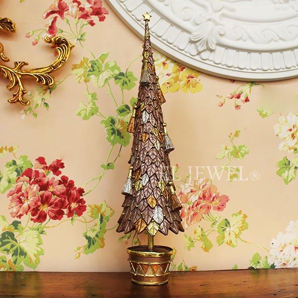 【10月下旬入荷予定】クリスマスアイテム♪ リーフ&タッセルツリー Lサイズ・ピンク(φ11×H43cm)