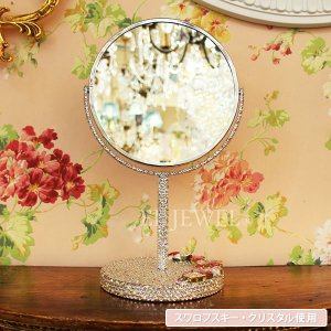 <b>【即納可!】</b>キラキラスワロフスキーデコレーション♪プリンセスミラー拡大鏡 ピンク系(W16×H31cm)