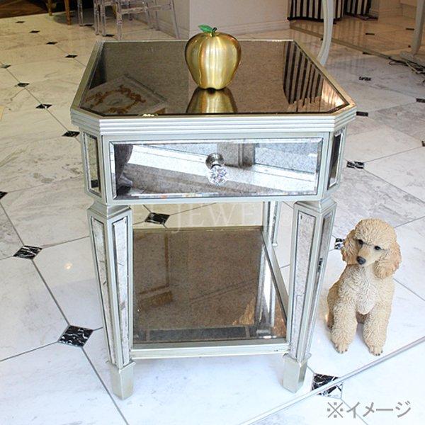 【即納可!】【限定品】【ミラー家具】 引き出し付き ミラーサイドテーブル(W45×D60×H61cm)