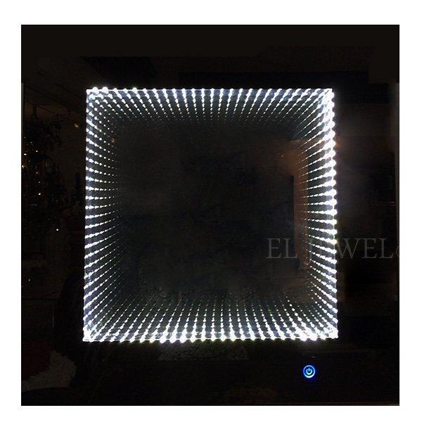 【入荷未定】調光可能!キラキラLIGHT♪ LED付きウォールミラー♪ クローム(W60×D5×H60cm)