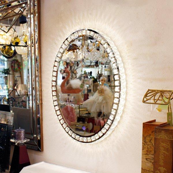 【即納可!】調光可能!キラキラクリスタル♪LEDライト付き女優ミラー♪壁掛け・Mサイズ(W49.5×H64cm)