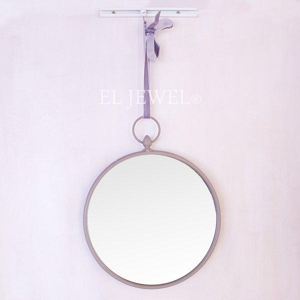 【即納可!】 【フランス-EMDE】リボンラウンドミラー・グレー(H30cm)