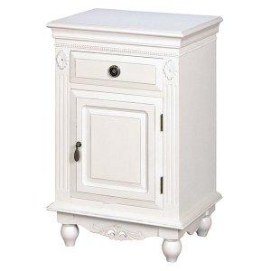 【フレンチな白家具・デュエット】クラシックホワイト・サイドキャビネット