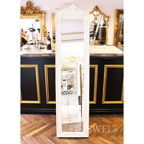 【セール!】【即納可!】アンティーク調 ゴージャス スタンドミラー ホワイト(W43×H174cm)