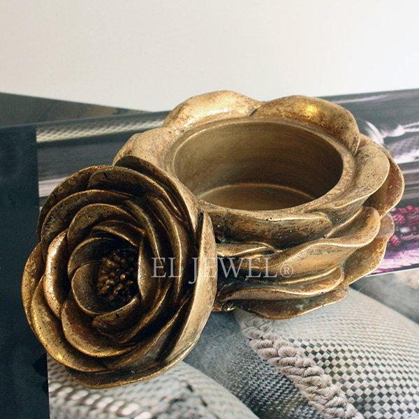 【即納可!】【Dutch Style-オランダ】アンティーク調ローズ型小物入れ・ゴールド(φ12×H7cm)