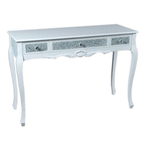 【即納可!】 ベルギー「GARUDA」キラキラ☆コンソールテーブル ホワイト(W120×D45×H82cm)