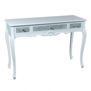 <B>【即納可!】</B>ベルギー「GARUDA」キラキラ☆コンソールテーブル ホワイト(W120×D45×H82cm)