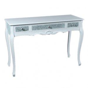 【訳ありセール1台のみ】【即納可!】ベルギー「GARUDA」キラキラ☆コンソールテーブル ホワイト(W120×D45×H82cm)
