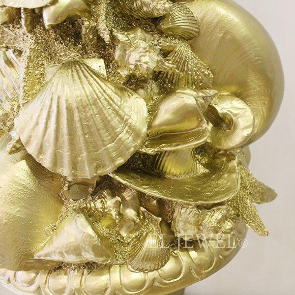 【即納可!】【オランダ-BAROQUE】  ロココ調デコ・シェルオブジェ・ゴールド(φ22.5×H82cm)