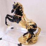 <b></b>馬のオブジェ ブラック×ゴールド(H67cm)
