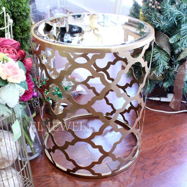 ミラーガラス天板サイドテーブル・ゴールド(φ45×H55cm)