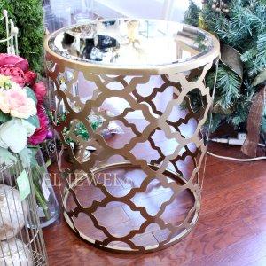 <b></b>ミラーガラス天板サイドテーブル・ゴールド(φ45×H55cm)