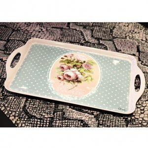<b>【即納可!】【フランス-Orval】</b>持ち手付きスクエアトレー「ROSE PARIS」48.5×29.5cm
