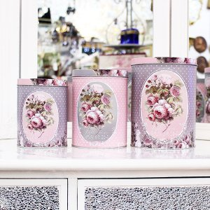 <b>【即納可!】【フランス-Orval】</b>缶キャニスター「ROSE PARIS」3個set