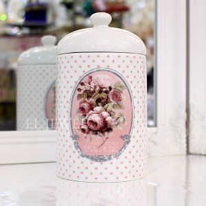 <b>【即納可!】【フランス-Mathilde M.】</b>サニタリーボックス「ROSE PARIS」φ9.5×H18.5cm