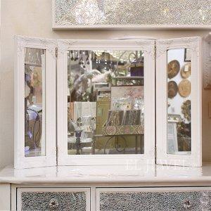 <b>【即納可!】【フランス-Mathilde M.】</b>三面鏡・アンティークホワイト(W120×H180cm)
