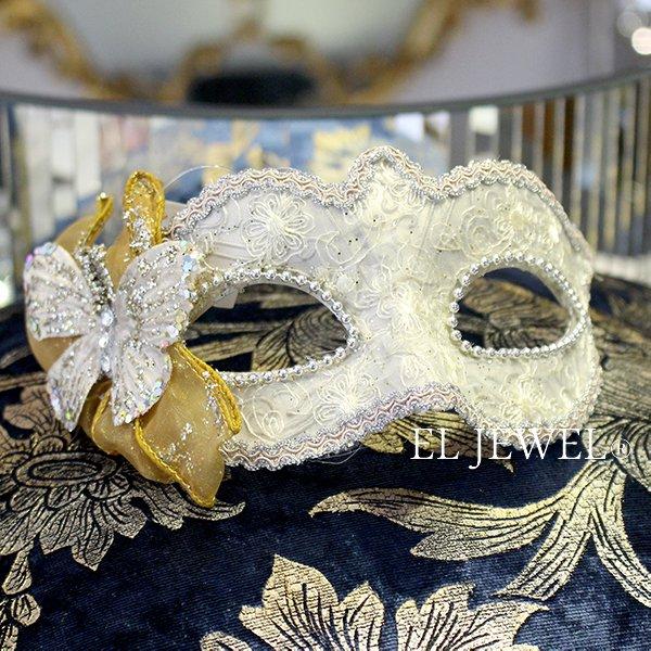 【完売】【ベルギー-GOODWILL-】キラキラ☆レースの仮面舞踏会マスク(ホワイト)