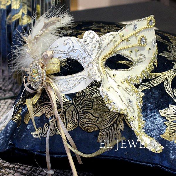 【即納可!】【GOODWILL-ベルギー】キラキラ☆レースの仮面舞踏会マスク(ホワイト)