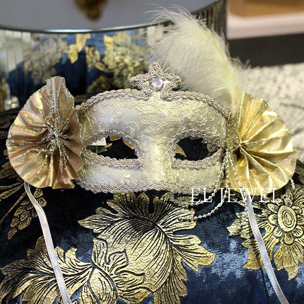 【即納可!】【GOODWILL-ベルギー】キラキラ☆レースの仮面舞踏会マスク(シャンパンゴールド)