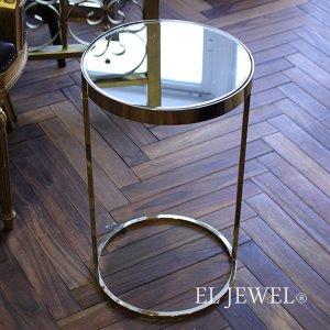 <b>【即納可!】</b>【フランス-Aulica-】 ミラートップ・コーヒーテーブル(φ30×H50cm)