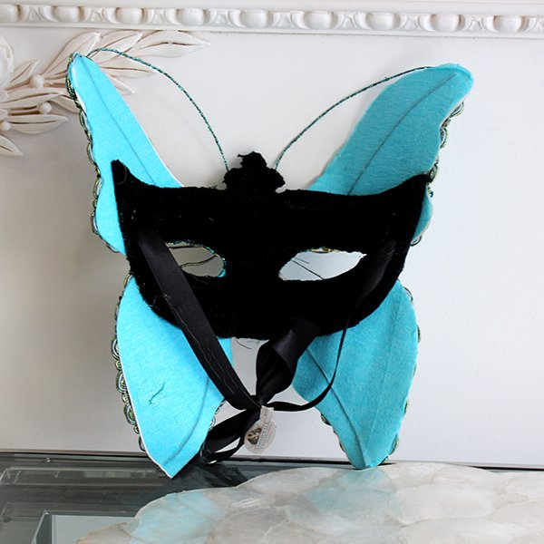 【即納可!】【ベルギー-GOODWILL-】 キラキラ☆レースの仮面舞踏会マスク(グリーン)