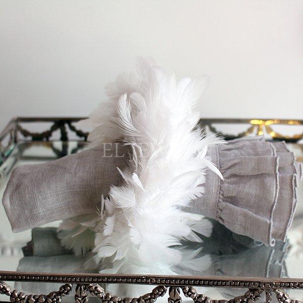 【即納可!】 【フランス-Aulica-】フェザーナプキンリング・ホワイト(φ約14cm)