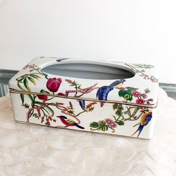 【Q&Q-スペイン】陶器製ティッシュボックス「花と鳥」
