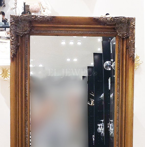 エレガントなスタンドミラー (W40×H150cm)アンティークゴールド