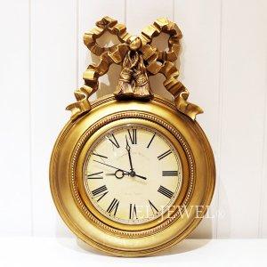 <b>【即納可!】</b>ウォールクロック・リボン・ゴールド(W30.5×H45×D4cm)