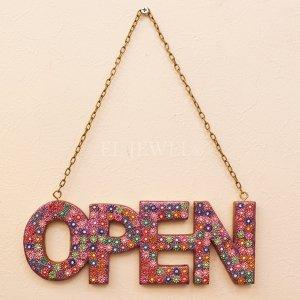 <b>【即納可!】</b>モンドビーズ・ウォールサイン「OPEN」(ピンク)