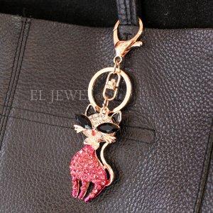 <b>【即納可!】</b>キラキラ♪ラインストーンキーホルダー・ネコ(12cm)ピンク