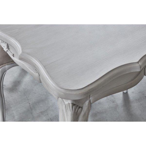【セール!】【HAMPTON】 クラシカルスタイル♪ダイニングテーブル・アンティークホワイト(W100×D80×H73cm)