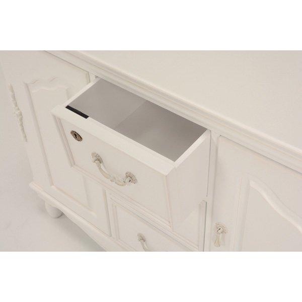 【セール!】【HAMPTON】 クラシカルスタイル♪キャビネット・アンティークホワイト(W110×D40×H80cm)