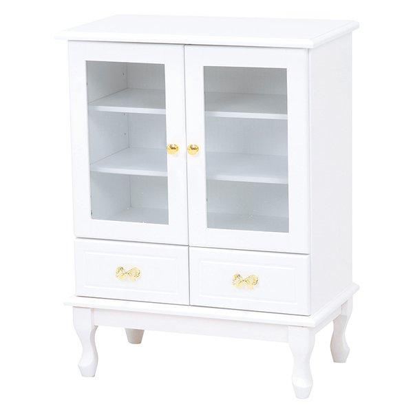 【セール!】【Feminine Wood Furniture】 フェミニンな白家具♪キャビネット・ホワイト(W63×D35×H83.5cm)