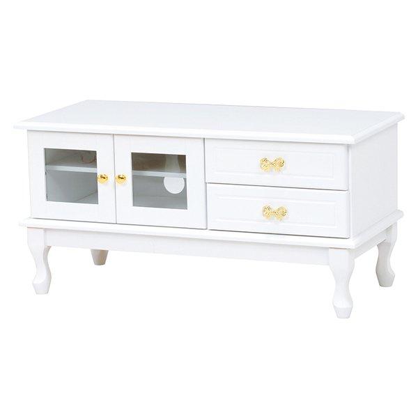 【セール!】【Feminine Wood Furniture】フェミニンな白家具♪テレビボード・ホワイト(W90×D40×H45cm)