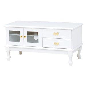 <B>【セール!】【Feminine Wood Furniture】</B>フェミニンな白家具♪テレビボード・ホワイト(W90×D40×H45cm)<img class='new_mark_img2' src='https://img.shop-pro.jp/img/new/icons24.gif' style='border:none;display:inline;margin:0px;padding:0px;width:auto;' />