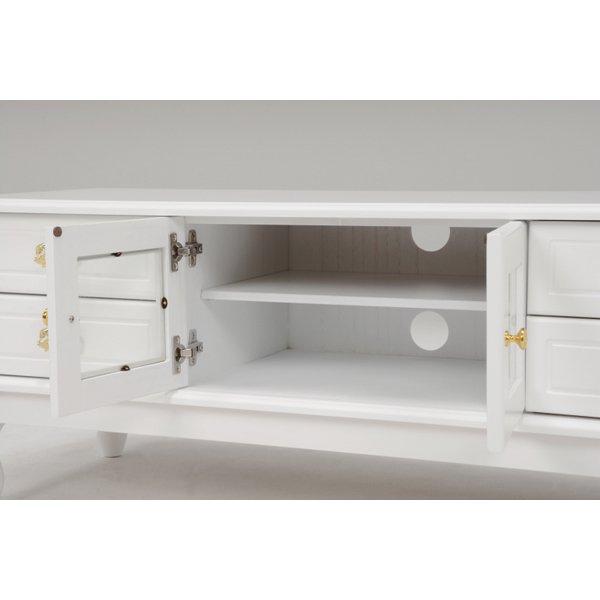 【セール!】【Feminine Wood Furniture】 フェミニンな白家具♪テレビボード・ホワイト(W120×D40×H45cm)