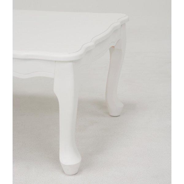 【セール!】【Feminine Wood Furniture】フェミニンな白家具♪折れ脚テーブル・ホワイト(W80×D55×H33.5cm)
