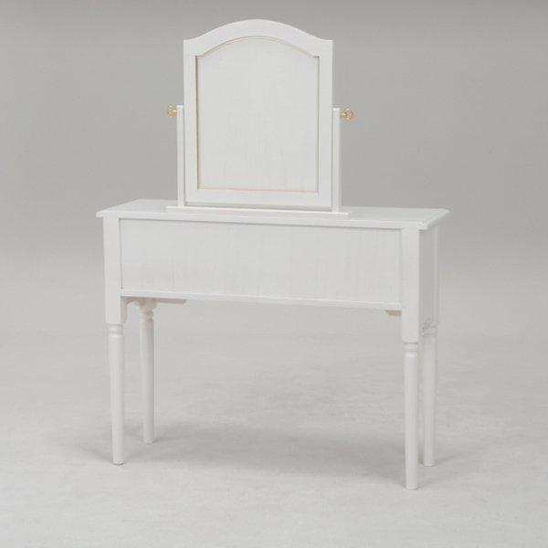 【セール!】【Feminine Wood Furniture】 フェミニンな白家具♪ドレッサーセット・ホワイト(W90×D30×H120cm)