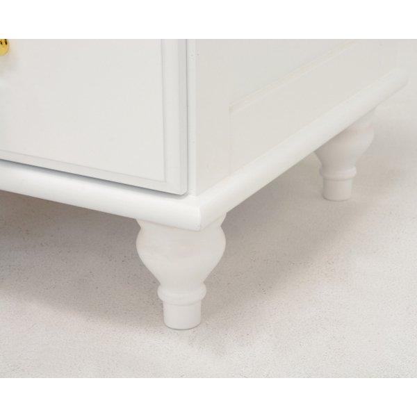 【セール!】【Feminine Wood Furniture】フェミニンな白家具♪ワイドチェスト・ホワイト(W80×D35×H90cm)