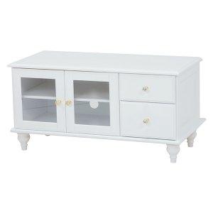 <B>【セール!】【Feminine Wood Furniture】</B>フェミニンな白家具♪テレビボード・ホワイト(W88×D40×H45cm)<img class='new_mark_img2' src='https://img.shop-pro.jp/img/new/icons24.gif' style='border:none;display:inline;margin:0px;padding:0px;width:auto;' />