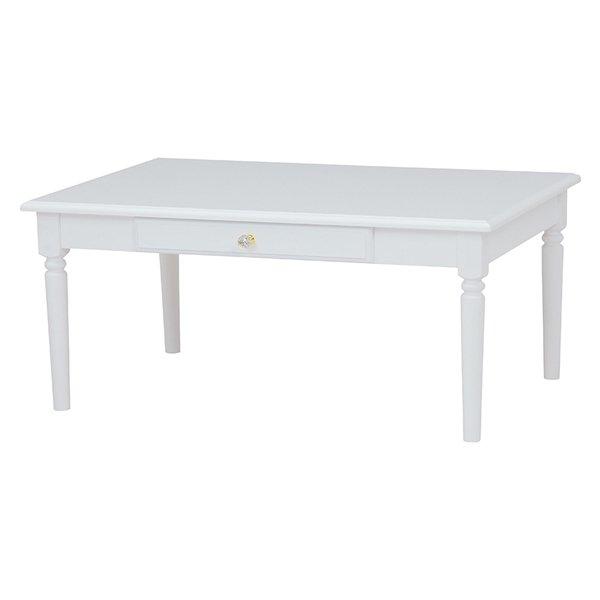 【セール!】【Feminine Wood Furniture】フェミニンな白家具♪テーブル・ホワイト(W90×D60×H40cm)